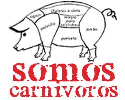 Logo somos carnívoros con las partes del tocino
